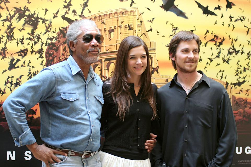 "Morgan Freeman, Katie Holmes and Christian Bale during ""Batman Begins""  Rome Photocall at Hotel St.Regis in Rome, Italy. (Photo by Ernesto Ruscio/FilmMagic)"