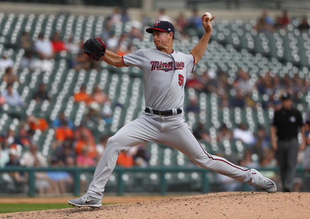 Minnesota Twins pitcher Stephen Gonsalves throws in the fourth inning of a baseball game against the Detroit Tigers in Detroit, Wednesday, Sept. 19, 2018. (AP Photo/Paul Sancya)