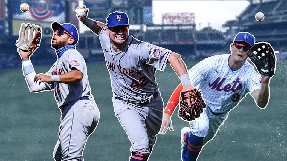 Dom Smith, J.D. Davis, and Brandon Nimmo fielding TREATED ART