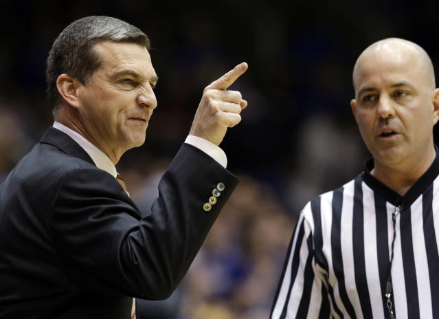 Maryland coach Mark Turgeon yells at an official during the first half of an NCAA college basketball game against Duke in Durham, N.C., Saturday, Feb. 15, 2014. Duke won 69-67. (AP Photo/Gerry Broome)
