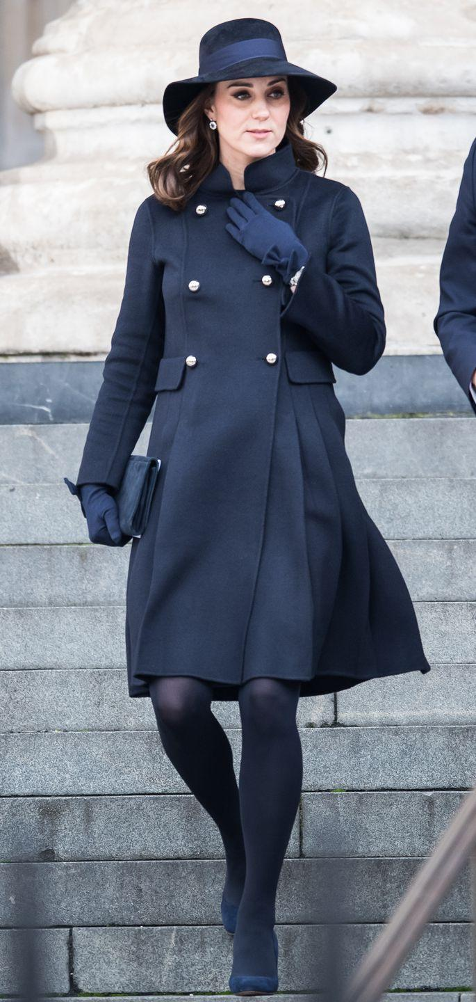 <p>Duchess Kate wore all navy everything for a somber memorial service honoring the victims of the Grenfell Tower fire in London. The Duchess wore a coat by Carolina Herrera with L.K. Bennett pumps for the occasion. </p>