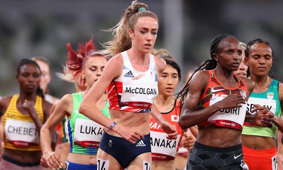 Eilish McColgan competes during one of the 5,000m heats