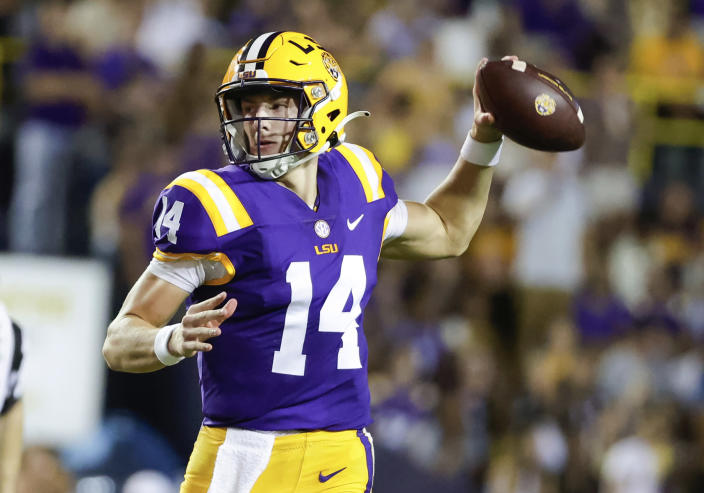 LSU quarterback Max Johnson throws a pass against Central Michigan during the second quarter of an NCAA college football game in Baton Rouge, La,. Saturday, Sept. 18, 2021. (AP Photo/Derick Hingle)