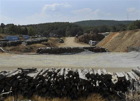 Logs are piled up in the forest area where Hellas Gold will construct an open pit to extract gold in Skouries