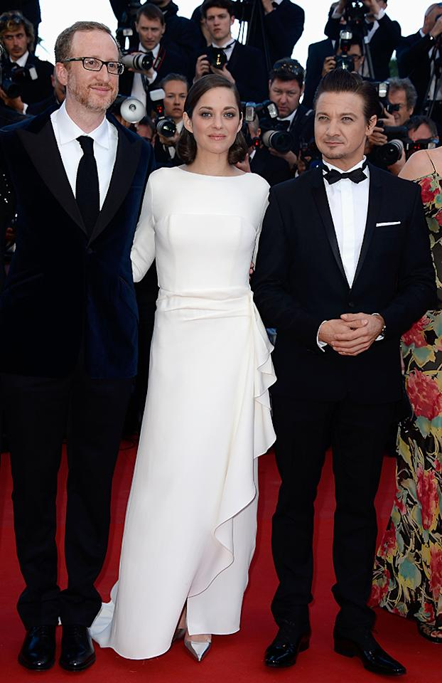 CANNES, FRANCE - MAY 24:  (L-R) Director James Gray, actors Marion Cotillard and Jeremy Renner attend the 'The Immigrant' premiere during The 66th Annual Cannes Film Festival at the Palais des Festivals on May 24, 2013 in Cannes, France.  (Photo by Pascal Le Segretain/Getty Images)