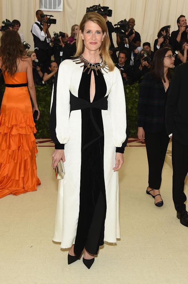 <p>Laura Dern attends the Heavenly Bodies: Fashion & The Catholic Imagination Costume Institute Gala at The Metropolitan Museum of Art on May 7, 2018 in New York City. (Photo: Getty Images) </p>