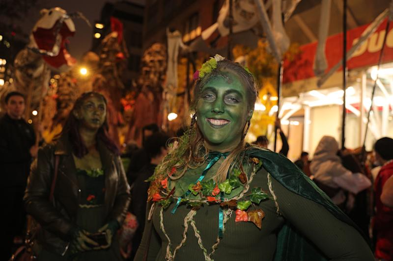 Revelers dressed as the Children of the Forest from Game of Thrones during Halloween Parade in New York. (Photo: Gordon Donovan/Yahoo News)
