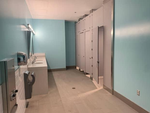 The bathroom in the Commons at the University of British Columbia's Okanagan campus where Taylor says the suspect filmed her.