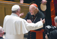 <p> FILE - In this Sept. 23, 2015 file photo, Pope Francis reaches out to hug Cardinal Archbishop emeritus Theodore McCarrick after the Midday Prayer of the Divine with more than 300 U.S. Bishops at the Cathedral of St. Matthew the Apostle in Washington. Seton Hall University has begun an investigation into potential sexual abuse at two seminaries it hosts following misconduct allegations against ex-Cardinal McCarrick and other priests. (Jonathan Newton/The Washington Post via AP, Pool, File) </p>