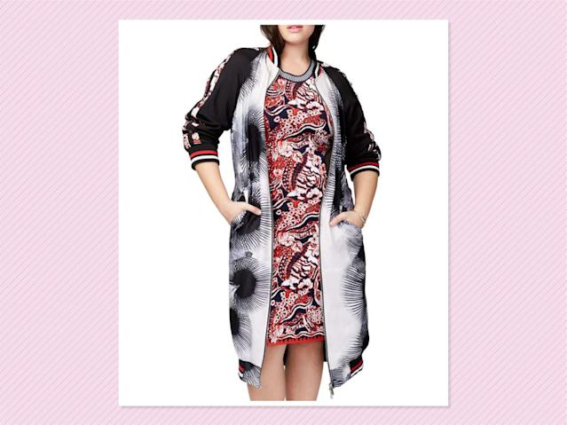 "<p>Rachel By Rachel Roy Mixed Print Duster Bomber, $199, <a href=""http://shop.nordstrom.com/s/rachel-rachel-roy-mix-print-duster-bomber-plus-size/4640909?origin=keywordsearch-personalizedsort&fashioncolor=BLACK%2F%20WHITE%20COMBO"" rel=""nofollow noopener"" target=""_blank"" data-ylk=""slk:Nordstrom"" class=""link rapid-noclick-resp"">Nordstrom</a> (Photo: Nordstrom) </p>"