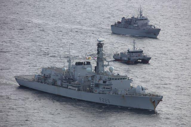 The HMS Lancaster on exercises