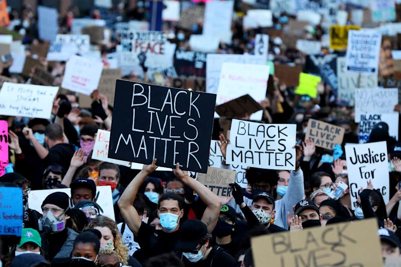 Demonstrators protest in Boston. (Maddie Meyer/Getty Images)