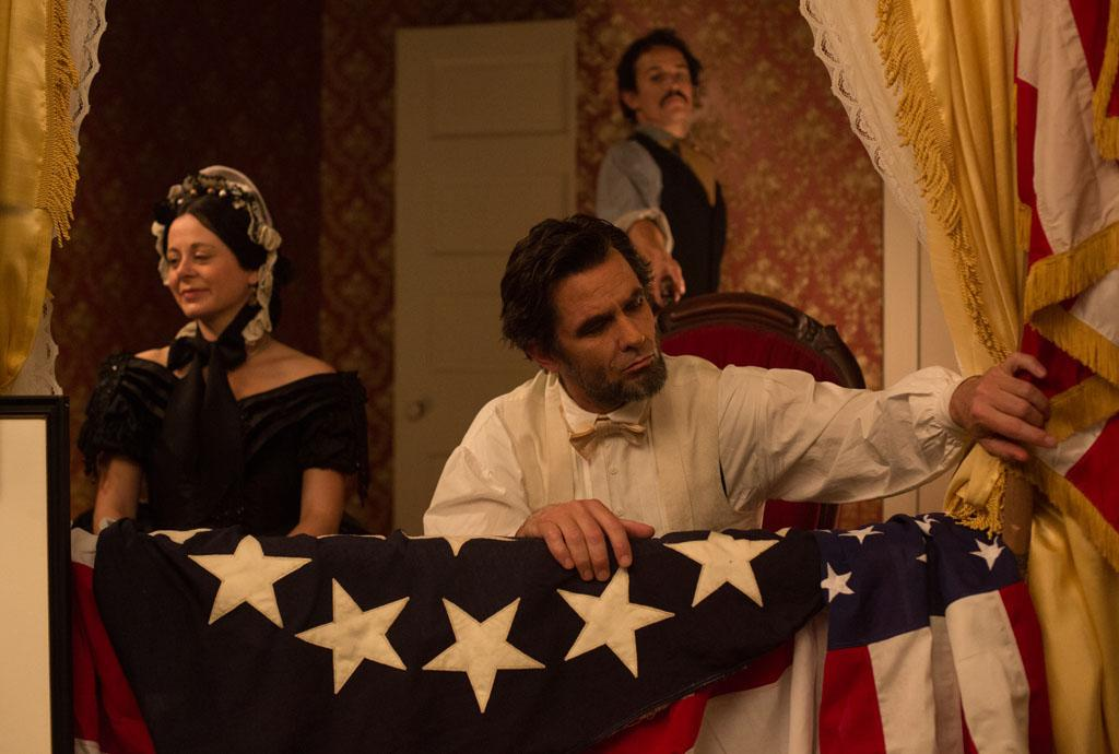 "The scene where Abraham Lincoln is shot by John Wilkes Booth at Ford's Theater in the television film ""Killing Lincoln"" based on the best-selling book by Bill O'Reilly.??"