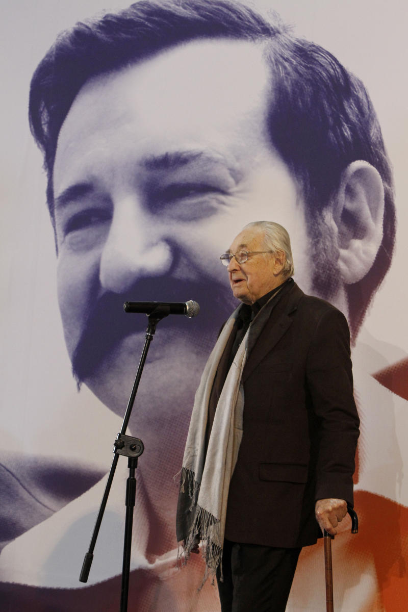 "Poland's Oscar-honored film director Andrzej Wajda tells reporters in Warsaw, Poland on Thursday, Nov.24, 2011 that the movie he is starting on about former president and Solidarity founder Lech Walesa is the greatest challenge of his 55-year career. Wajda begins shooting ""Walesa"" on Dec. 1 in the Baltic port city of Gdansk, where the then-union leader kicked off the Solidarity movement in 1980 that helped lead to the downfall of communism.   (AP Photo/Czarek Sokolowski)"