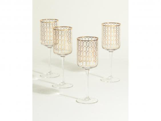 Make sure your next drink is servied in one of these art-deco inspired glasses (Oliver Bonas)