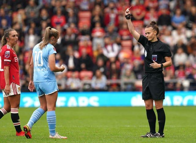 England's Georgia Stanway was sent off in Manchester City's 2-2 draw at Manchester united on Saturday (Martin Rickett/PA).