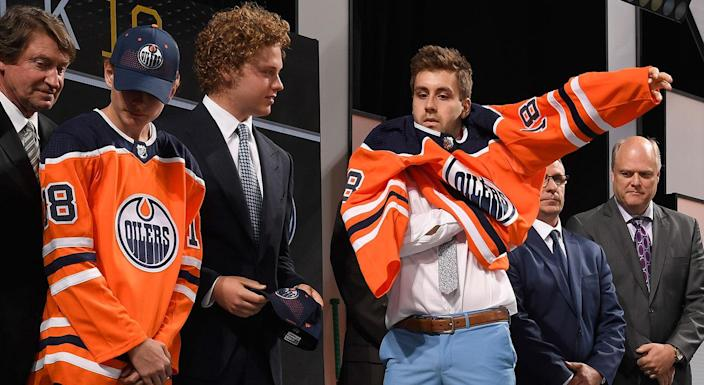 The Oilers got the big D-man they coveted in London's Evan Bouchard. (Photo by Brian Babineau/NHLI via Getty Images)
