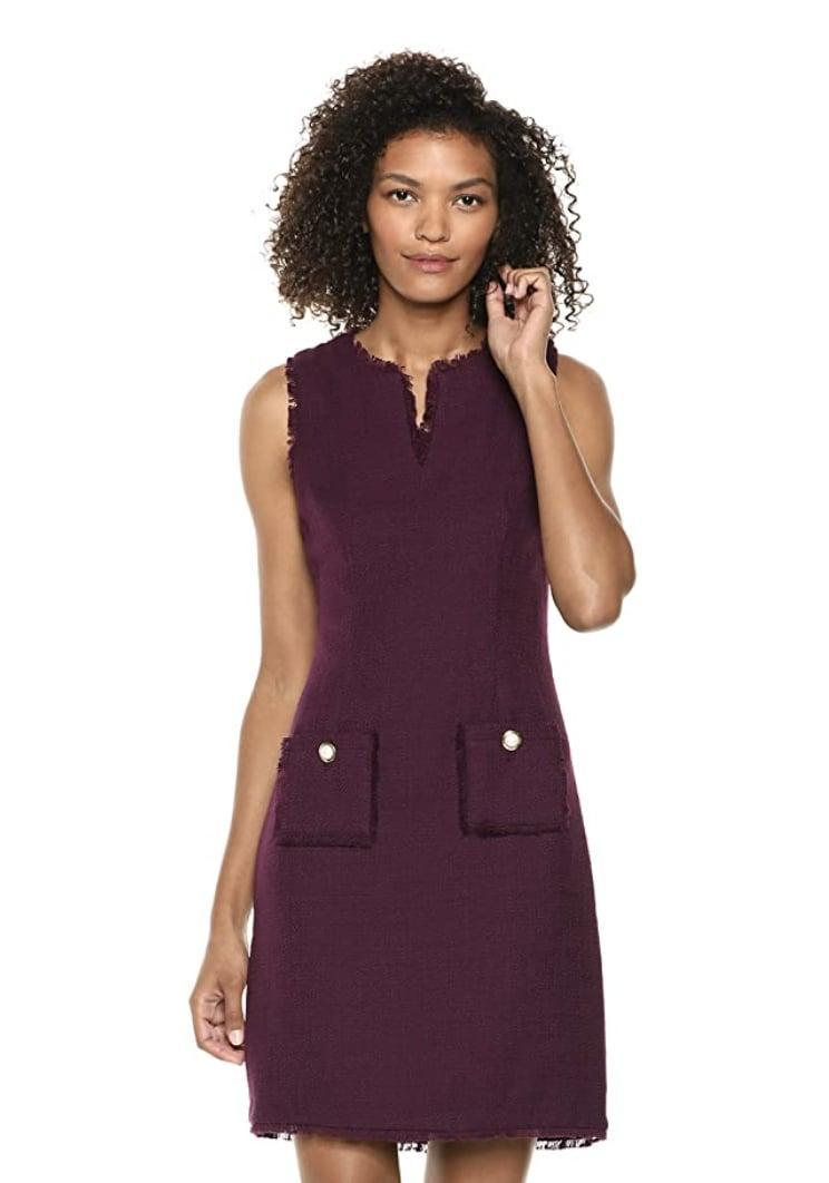 <p>You'll look polished in this <span>Karl Lagerfeld Tweed Shift Dress</span> ($36 - $113). Complete the look with some low-heeled mules and a cute clutch.</p>