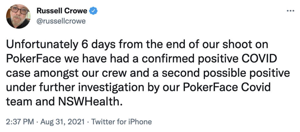 A tweet by Russell Crowe reveals there's been a Covid outbreak on the set of his new film, Poker Face. Photo: Twitter/russellcrowe.