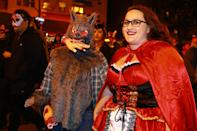 <p>This wolf has a mouthful of Little Red Riding Hood in the 44th annual Village Halloween Parade in New York City on Oct. 31, 2017. (Photo: Gordon Donovan/Yahoo News) </p>