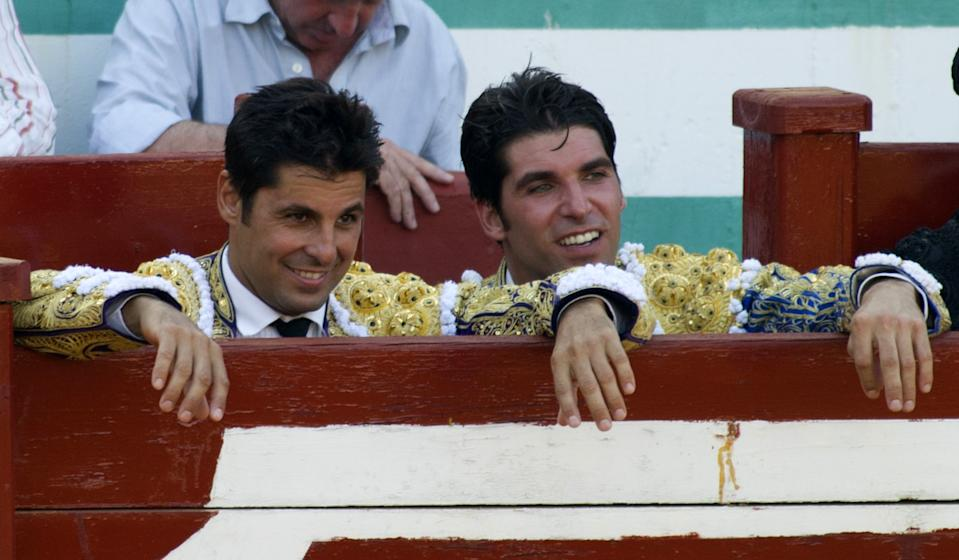 ESTEPONA, SPAIN - JULY 12:  Brothers Francisco Rivera (L) and Cayetano Rivera attend bullfighting on July 12, 2015 in Estepona, Spain.  (Photo by Europa Press/Europa Press via Getty Images)