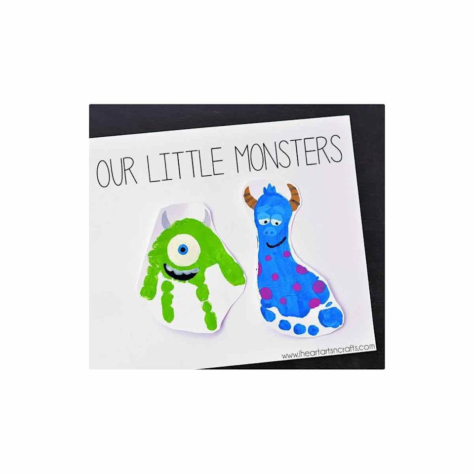 """<p>Turn your baby's sweet little hand- and footprints into a special keepsake for his first Father's Day. </p><p><a href=""""https://www.iheartartsncrafts.com/monsters-inc-inspired-footprint-art/"""" rel=""""nofollow noopener"""" target=""""_blank"""" data-ylk=""""slk:Get the tutorial."""" class=""""link rapid-noclick-resp"""">Get the tutorial.</a></p><p><a class=""""link rapid-noclick-resp"""" href=""""https://go.redirectingat.com?id=74968X1596630&url=https%3A%2F%2Fwww.walmart.com%2Fip%2FApple-Barrel-Colors-Bright-Red-Paint-8-Fl-Oz%2F17301364&sref=https%3A%2F%2Fwww.oprahdaily.com%2Flife%2Fg27603456%2Fdiy-homemade-fathers-day-gifts%2F"""" rel=""""nofollow noopener"""" target=""""_blank"""" data-ylk=""""slk:SHOP PAINT"""">SHOP PAINT</a></p>"""