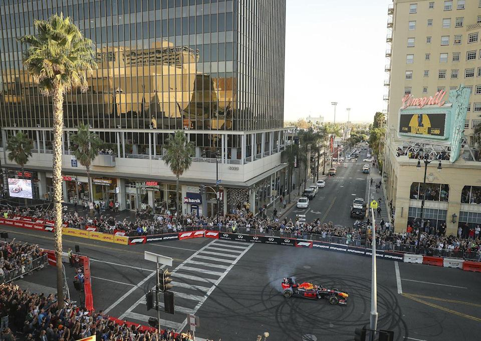 "<p>The city welcomed the first <a href=""https://www.formula1.com/en/latest/article.teams-and-drivers-bring-racing-spectacle-to-la-for-f1-hollywood-festival.3SlKJXiJoV7HV39IM6msB3.html"" rel=""nofollow noopener"" target=""_blank"" data-ylk=""slk:Formula 1 Hollywood Festival"" class=""link rapid-noclick-resp"">Formula 1 Hollywood Festival</a> in 2019, which kicked off with the unveiling of a ""Hollywood Ride of Fame"" car exhibition. The exhibit featured multiple F1 and iconic cars from throughout the ages, the race's website reported. <br></p>"