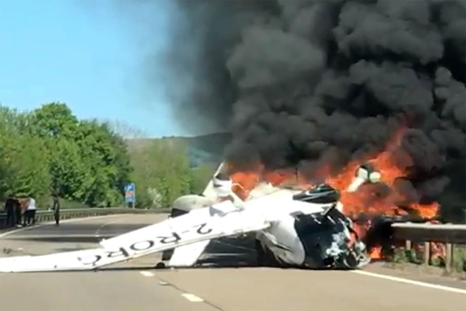 The plane crashed on the A40 near Abergavenny (Picture: Caters)