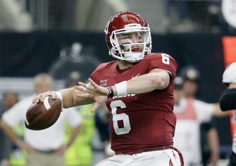 Baker Mayfield is one of the players vying to be the first quarterback selected in April's draft. (AP)