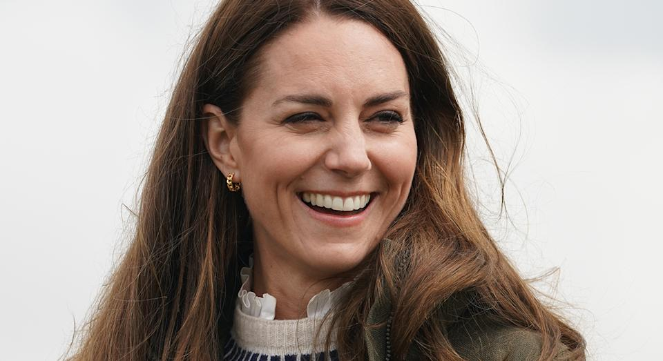 The Duchess of Cambridge wears Orelia Chain Hoop Earrings for latest royal engagement in Durham.  (PA Images)