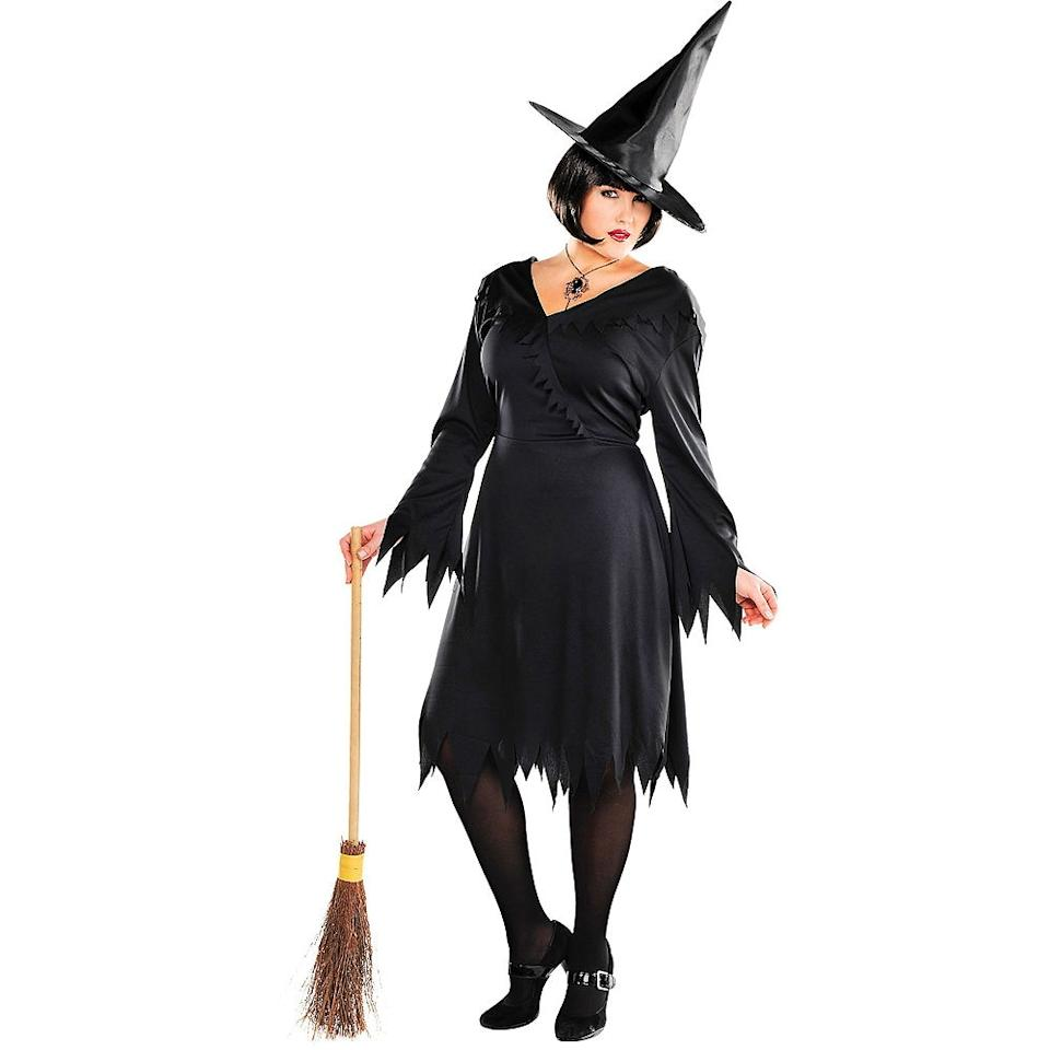 """<p><strong>See All Witch Costumes</strong></p><p>partycity.com</p><p><strong>$14.99</strong></p><p><a href=""""https://go.redirectingat.com?id=74968X1596630&url=https%3A%2F%2Fwww.partycity.com%2Fadult-classic-witch-costume-plus-size-P393195.html&sref=http%3A%2F%2Fwww.goodhousekeeping.com%2Fholidays%2Fhalloween-ideas%2Fg4554%2Fplus-size-costumes%2F"""" target=""""_blank"""">Shop Now</a></p><p>Always a classic, you simply can't go wrong with this all-black, bewitching ensemble. For a more creative twist, tell everyone you're the <em>fourth</em> Sanderson sister. </p>"""