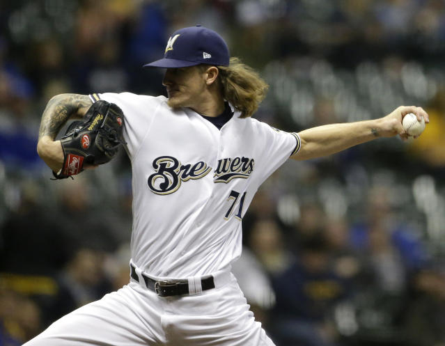 "<a class=""link rapid-noclick-resp"" href=""/mlb/teams/mil"" data-ylk=""slk:Brewers"">Brewers</a> phenom Josh Hader pitched his way into the All-Star Game. (AP Photo/Aaron Gash)"