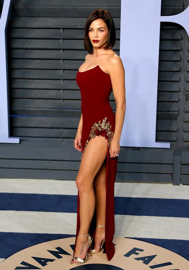 <p>The <em>World of Dance</em> host matched her burgundy lips to her curve-hugging gown. (Photo: JEAN-BAPTISTE LACROIX/AFP/Getty Images) </p>