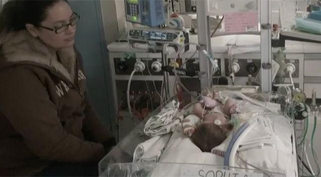 Sofia was hooked up to machines to help her breathe. Source: Today Tonight