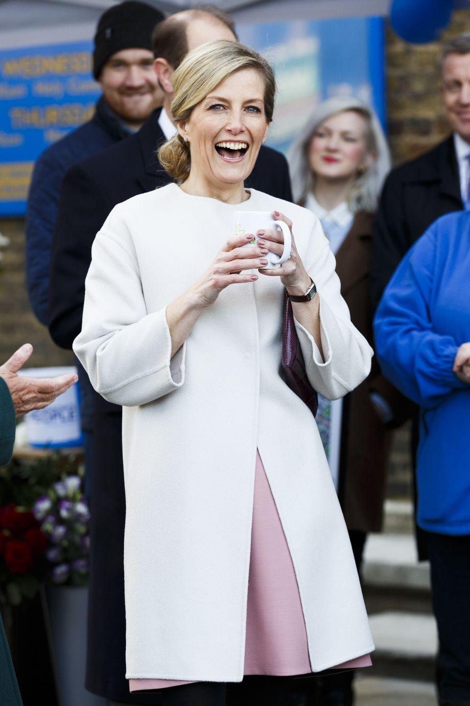 <p>The British royal women love a good structured coat. Here is Sophie in an oatmeal-colored style on her 50th birthday at a charity event.</p>