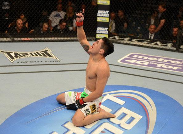 Erik Perez reacts to his victory over Byron Bloodworth after their bantamweight fight at UFC 155 on December 29, 2012 at MGM Grand Garden Arena in Las Vegas, Nevada. (Photo by Donald Miralle/Zuffa LLC/Zuffa LLC via Getty Images)