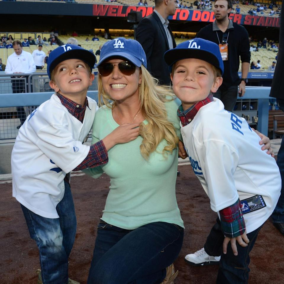 Britney Spears And Sons Visit Dodgers Stadium - April 17, 2013 (Jon SooHoo / LA Dodgers via Getty Images)