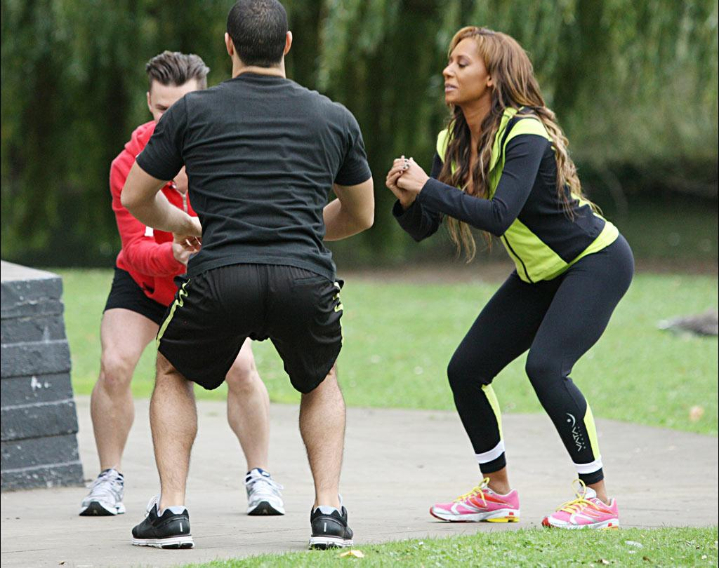 """Back in June, Mel <a href=""""http://www.lopeztonight.com/episode_recaps_and_highlights/scary_spice_really_is_scary_in_bed.php"""" target=""""new"""">revealed</a> that her hubby Stephen Belafonte is her secret weapon for staying in shape. They work off calories by having sex five times a day! Trevor Adams/<a href=""""http://www.infdaily.com"""" target=""""new"""">INFDaily.com</a> - October 13, 2010"""