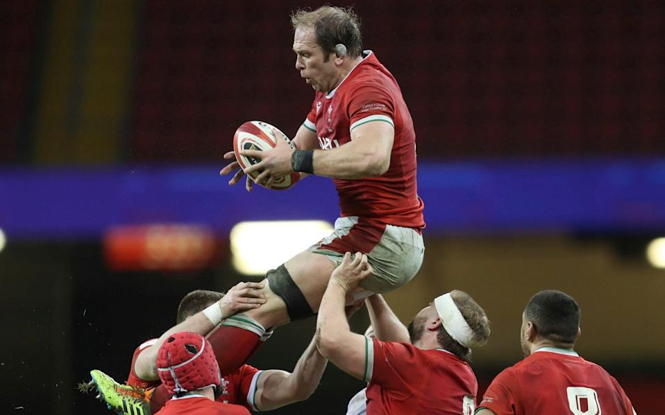 In this Saturday, Feb. 27, 2021 file photo, Wales' Alun Wyn Jones gathers the ball in a line out during the Six Nations rugby union match between Wales and England at the Millennium stadium in Cardiff, Wales. Wales great Alun Wyn Jones was selected on Thursday May 6, 2021, as captain of the British and Irish Lions for the first time for the tour of South Africa - David Davies/Pool via AP, File