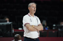 France's head coach Vincent Collet watches during men's basketball preliminary round game between Iran and France at the 2020 Summer Olympics, Saturday, July 31, 2021, in Saitama, Japan. (AP Photo/Charlie Neibergall)