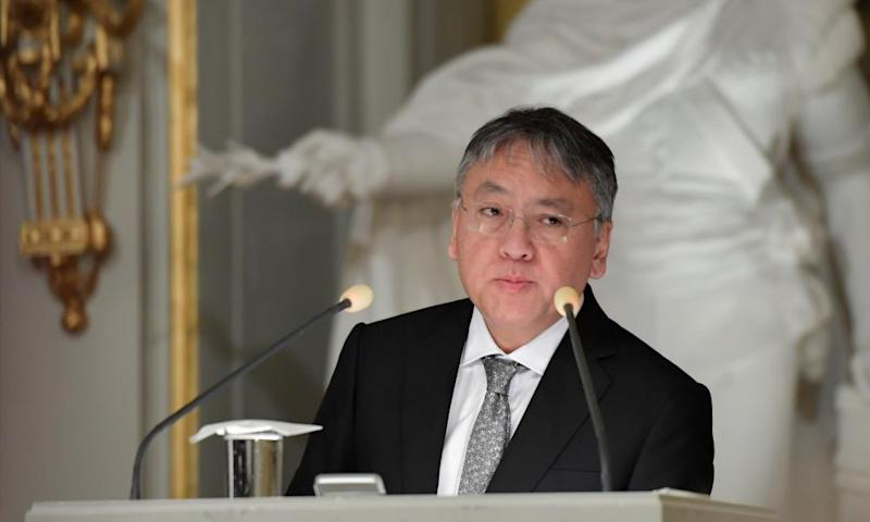 Literature laureate Kazuo Ishiguro during a lecture at Royal Swedish Academy in Stockholm.