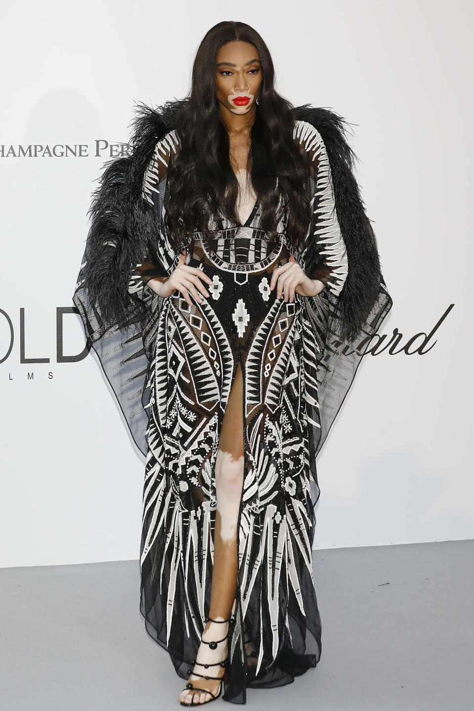 <p>Model Winnie Harlow wore an impressive feathered number by Zuhair Murad for the 2018 amfAR Gala during Cannes Film Festival. [Photo: Getty] </p>
