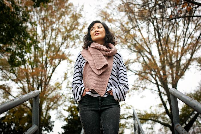 Stephanie Cho poses for a portrait outdoors in Norcross, Ga., on Dec. 4.