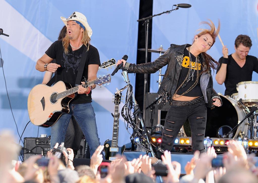 """Rumor has it Miley will appear on the recovering rocker's own upcoming album, <i>Custom Built</i>, to duet on the controversial tune """"Nothing to Lose."""" Jamie McCarthy/<a href=""""http://www.wireimage.com"""" target=""""new"""">WireImage.com</a> - June 18, 2010"""