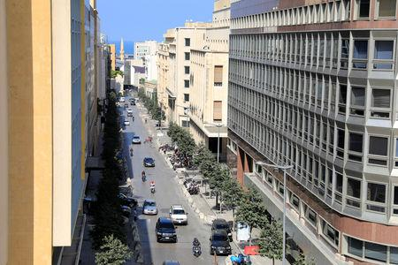 FILE PHOTO: A general view shows a street hosting banks and financial institutions, known as Banks Street, in Beirut Central District