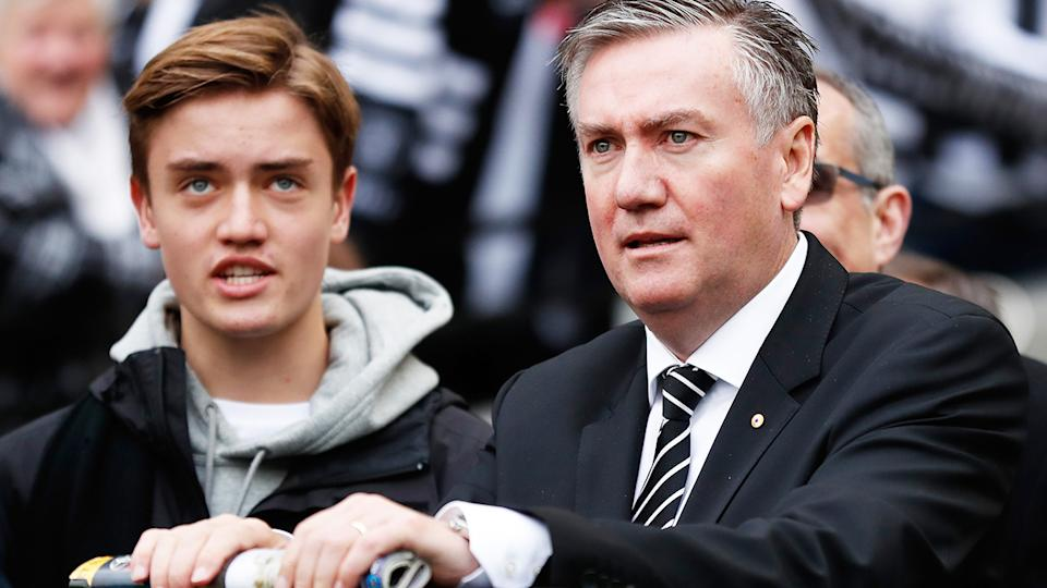 Eddie McGuire and his son, pictured here during an AFL game in 2017. (Photo by Michael Willson/AFL Media/Getty Images)