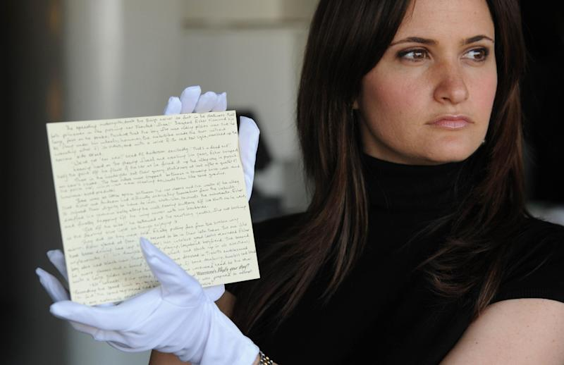 The stolen Potter manuscript, sold at auction in 2008 (Credit: Joel Ryan/PA Wire/PA Images)