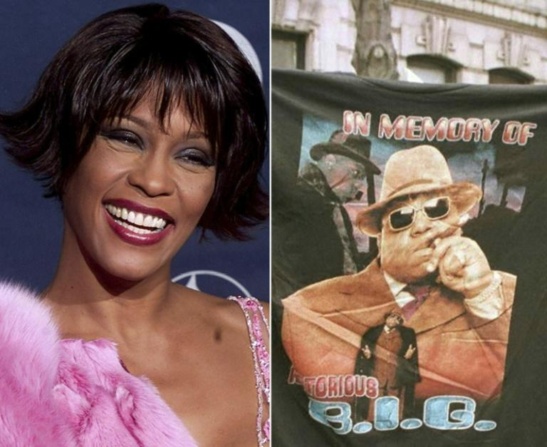 This combination of file photos shows Pop diva Whitney Houston at the 42nd Annual Grammy Awards at the Staples Center in Los Angeles February 23, 2000, and a man displaying a T-shirt tribute to rapper Biggie Smalls aka The Notorious B.I.G 18