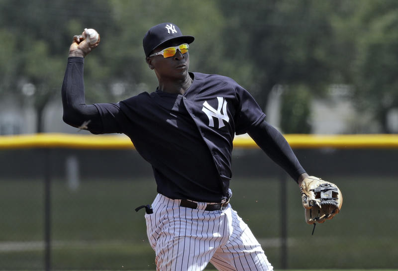 New York Yankees' Didi Gregorius throws the ball to first base in time to get a runner during a Gulf Coast League baseball game Monday, May 20, 2019, in Tampa, Fla. Gregorius is playing for the first time since having Tommy John surgery. (AP Photo/Chris O'Meara)