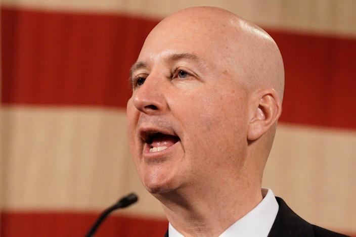 Nebraska Gov. Pete Ricketts speaks at a news conference in Lincoln, Neb.